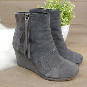 Toms Wedge Gray Suede Ankle Booties Side Zip